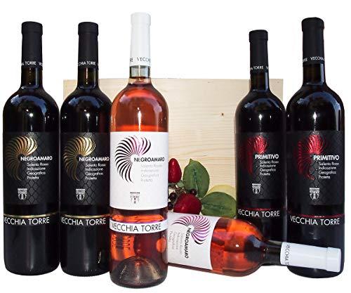 Primitivo, Negramaro e Negroamaro Rosato Vini Tipici della Puglia per un' Idea Regalo Unica - Cod 281