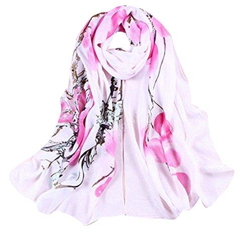 - 51wMTKMepKL - Sanwood Women's Chiffon Flower Printed Wrap Shawl Scarf (Pink)