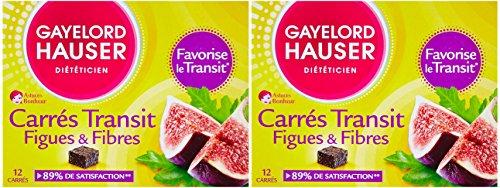 Gayelord Hauser Carres de Transit Figues et Fibres Diététique 12 Carrés - Lot de 2