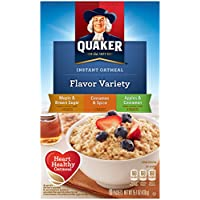 Quaker Instant Oatmeal Flavor Variety Pack (Maple Brown sugar, Cinnamon & spice, Apples & Cinnamon), 10 ct, 1.42 oz