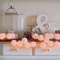 ELINKUME® LED cadena ligera con 20 bolas de algodón, De color blanco luminoso caliente, Operado con pilas, cuerda de la lámpara del Lampion 3.3M para la decoración, rosa