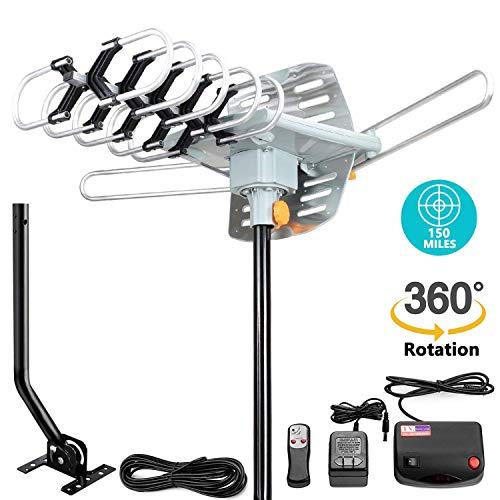 TV-Antenne - Outdoor Amplified HDTV Antenne 150 Mile motorisiert mit Verstellbarer Antennenhalterung für 2 TVs Unterstützung - UHF/VHF 4K 1080P Kanäle Wireless Fernbedienung - 10 ft Koaxialkabel Vhf-uhf-outdoor Hdtv