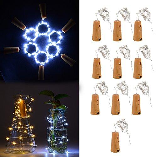 XCSOURCE® 10stk 1m 20 LED Kork Geformt LED Nacht Sternenklar Licht Kupferdraht Stopper Weinflasche Lampe Party Dekoration für Hochzeit Weihnachten Kaltes Weiß LD960