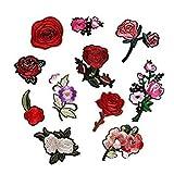 11pcs Bordado Rosa Flor Coser Parches Termoadhesivos Sombrero Ropa Apliques