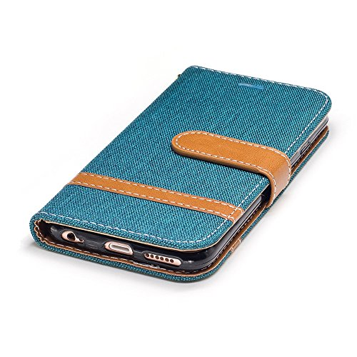 Nutbro iPhone SE Case,iPhone 5S Case,Denim Wallet Case for iPhone SE with Card Holder Fodable Kickstand Flip Cover Protective Case Cross Pattern Magnet Case BF-iphone-5S-75