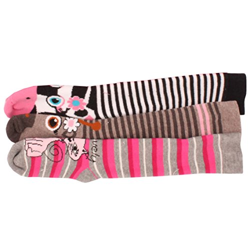 3-x-Girls-Kids-Children-Wellington-Welly-Animal-Print-Thermal-Warm-Long-Socks