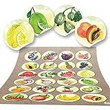 96 runde Aufkleber OBST Küchenaufkleber Essen Deko Küche Aufkleber Glas Sticker Küchen-Etiketten selbstklebend Kinder Kindergarten