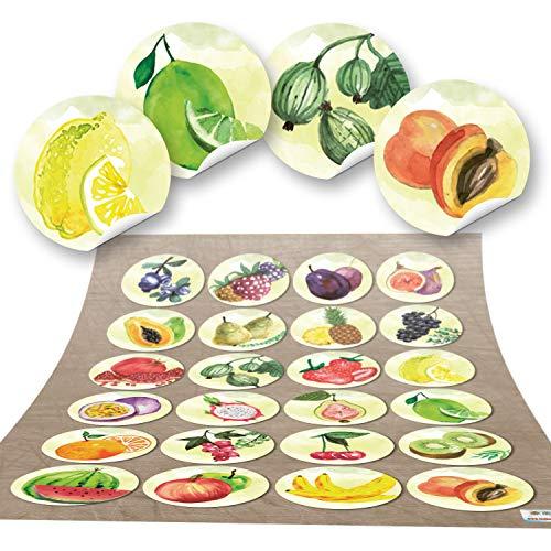 96 runde Aufkleber OBST Küchenaufkleber Essen Deko Küche Aufkleber Glas Sticker Küchen-Etiketten selbstklebend Kinder Kindergarten (Bio-erdbeere Pflaume)
