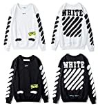 Splash Ink Striped Letter Crewneck Pullover Sweater Men's Hoody