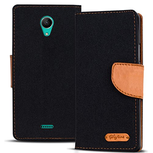 Conie Textil Hülle kompatibel mit Wiko Freddy, Booklet Cover Schwarze Handytasche Klapphülle Etui mit Kartenfächer