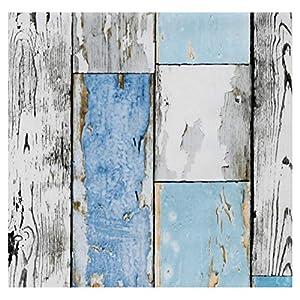 i.stHOME Klebefolie Möbelfolie selbstklebend altes Holz Muster Scrapwood Blue - Dekorfolie für Möbel in Holzoptik 45 x 200 cm - Selbstklebefolie Holzdekor Vintage Retro