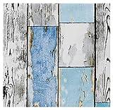 i.stHOME Klebefolie Möbelfolie altes Holz Muster Scrapwood Blue - Dekorfolie für Möbel in Holzoptik 45 x 200 cm - Selbstklebefolie Holzdekor Vintage Retro