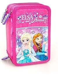 Disney Frozen 59124 Estuche 3 bisagras, plumier Triple, 44 Piezas