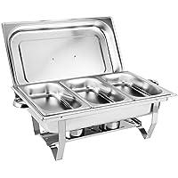 Lot de 3 plats à chafing Dish En acier inoxydable Passe au lave-vaisselle 9L Carrés four à alcool pour buffet, banquet…