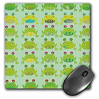 3dRose mp_113392_1 8 x 8-Inch Cute and Silly Artsy Pattern Froggy Frogs for Animal Lovers Mouse Pad