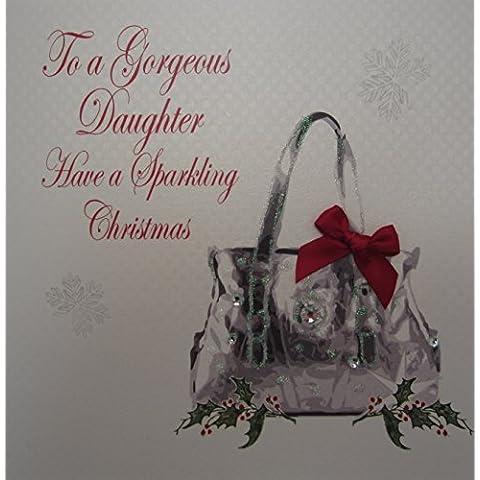 White Cotton Cards Daughter tienen un Gorgeous Elegance-Bolso de mano, diseño de tarjeta de Navidad, hecha a mano