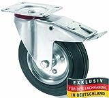 MASTERP Vollgummi Lenkrolle mit Bremse-100mm (bewegliche Transportrolle, Traglast bis 50Kg.)