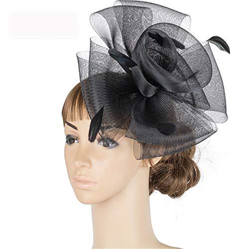 SweetStyle Zylinderhut Elastische Netz Kopfschmuck Jockey Club Hut Haarschmuck Haarspange Kopf Blume Hut, schwarz