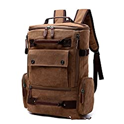 Hjfbw New Canvas Bag Multi-function Men's Backpack Large Capacity Mountaineering Bag Multi-function Outdoor Backpack