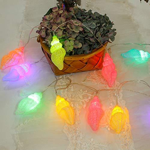 Muschel Lichterkette, Tronsnic Bunt Mehrfarbig 10er LED Lichterkette Batteriebetrieben Waechtersbach Weihnachten Baumdecke Deko Party 1.7m 5.6ft -