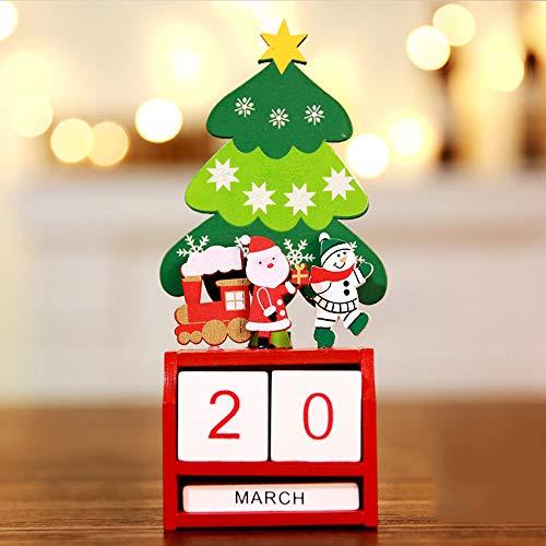 Holz Kalender Dekoration Ornamente (Kleiner Baum Alten Mann Zug),Weihnachten Mini Holz Kalender Xmas Ornament Dekoration Handwerk Geschenk ()