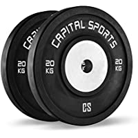 CAPITAL SPORTS Inval Discos de pesas Hi grade Competition 50 mm (Placas de peso de goma resistente weight drops sin dañar suelo, centro de aluminio, ideal barra olímpica, 2x20 kg)