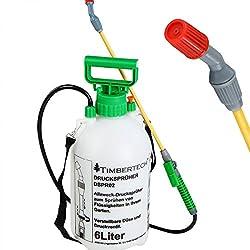 Drucksprüher - Volumen: ca. 6l, mit ca. 130 cm Schlauch, für Chemikalien und Pestizide geeignet - Drucksprühgerät, Pflanzenschutzmittelsprüher, Handdrucksprüher, Universal Sprüher Gartenspritze