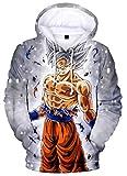 Silver Basic Sweat-Shirt à Capuche Garçon Dragon Ball Super Pull 3D Enfant Unisexe Sweat Goku L,1-Son Goku Ultra Instinct