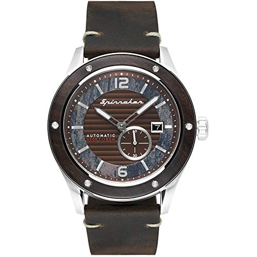 SPINNAKER Men's Sorrento 43mm Brown Leather Band Steel Case Automatic Analog Watch SP-5067-01