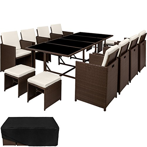 TecTake Conjunto muebles de jardín en ratán sintético comedor juego 8+4+1 +...