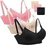 YIANNA 3Paket Damen Still BH Nahtlose Atmungsaktiv Bequem Schwangerschaft BHs ohne Bügel Schlaf BH,UK-YA600004-Black-Pink-Beige-M