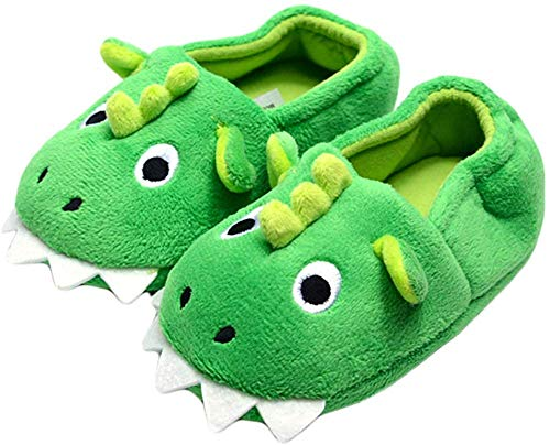Puzzlos Kids Boy Girls Cartoon Animal Plush Soft Monster Bootie Slippers with Anti Slip Sole Warm Winter House Shoes for Indoor/Outdoor