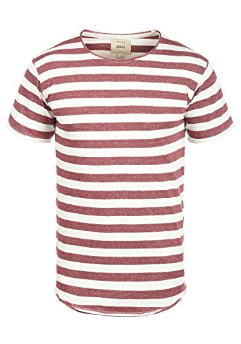 Redefined Rebel Milo Herren T-Shirt Kurzarm Shirt Streifenshirt Mit Streifen Und Rundhalsausschnitt 100% Baumwolle, Größe:XL, Farbe:Rust - Rote Seitliche Streifen-shirt