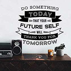 Design Tomorrow Thank You Tomorrow Text Wall Stickers Self-Adhesive Glulam Vinyl Wall Art Decal Children's Room Natural Decorative Wall Stickers 57X70Cm
