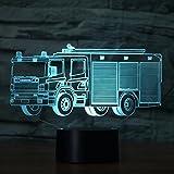 3D Feuerwehr Auto Optische Illusions-Lampen, Tolle 7 Farbwechsel Acryl berühren Tabelle Schreibtisch-Nachtlicht mit USB-Kabel für Kinder Schlafzimmer Geburtstagsgeschenke Geschenk Vergleich