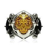 AMDXD Echtschmuck Ring 925 Silber Herren Oval Bernstein Obsidian Breit Silber Größe 65 (20.7)