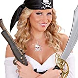 Totenkopf Kette Piraten Halskette silber Totenschädel Anhängerkette Strass Skull Halsschmuck Punkrock Hals Schmuck Halloween Kostüm Accessoire