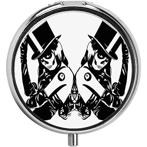 Symmetrisches Design von Sugar Skull Girls mit Billardkugel Lucky Tattoo mit Hut Runde 3 Compartment Metal Portable Pill Container