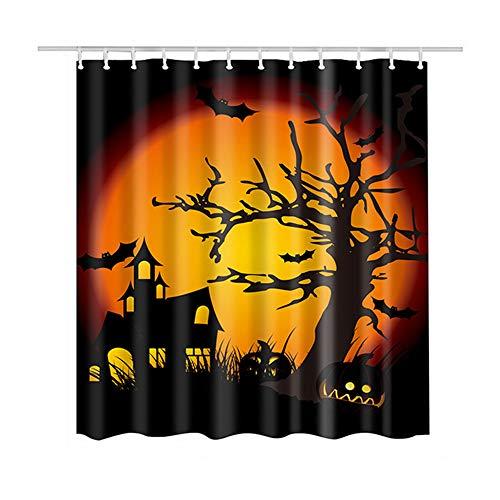 (Luzoeo Duschvorhang, Halloween, Toussaint, Robust, Langlebig, Undurchsichtig, Wasserdicht, Anti-Schimmel, Polyester, 180 x 180 cm, Motiv: Baum mit 12 Haken)