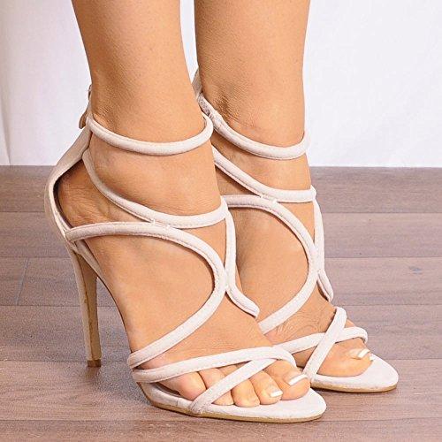 Dames Nues Strappy Découper Des Chaussures à Bout Ouvert Talon Haut Talon Sandales Beige
