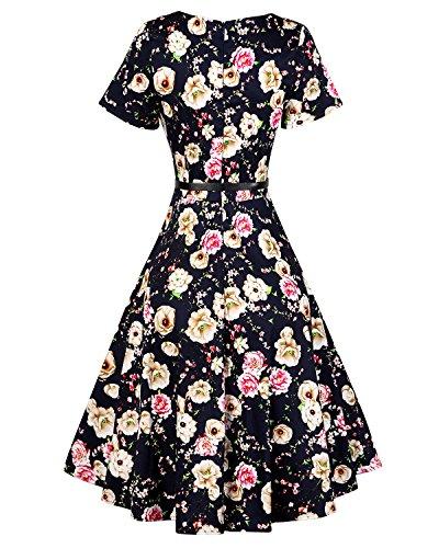 MISSMAO Rétro Robe de Bal Vintage années 50's Style Audrey Hepburn Rockabilly Swing Jupe Plissée Coton Noir & Fleur