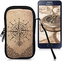 """kwmobile Funda de neopreno para móvil para smartphones M - 5,5"""" - Funda para smartphone carcasa protectora con Diseño Brújula estilo barroco marrón oscuro beige"""