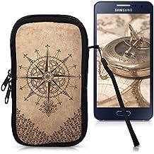 """kwmobile Funda de neopreno para móvil para smartphones M - 5,5"""" - Funda para smartphone carcasa protectora con Diseño brújula barroco marrón oscuro beige"""