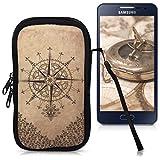 kwmobile Funda de neopreno para móvil para smartphones M - 5,5' - Funda para smartphone carcasa protectora con Diseño Brújula estilo barroco marrón oscuro beige