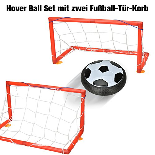 Willingood Hover Ball Set mit zwei Fußball-Tür-Korb und LED Beleuchtung |Air Power Fußball| |Hover Power Ball| |Hover Football Ball| für Drinnen