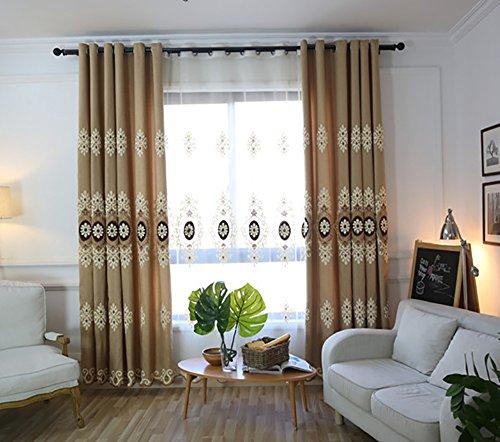 youyee Individuelle einfach Chenille Jacquard Blackout Fenster Elegance Vorhänge/Drapes/Panels/Behandlungen für Schlafzimmer Wohnzimmer Tüllen, oben (2), 50 % Polyester, Coffee-curtain, 54*84 - Zwei Panel-grüne Vorhänge