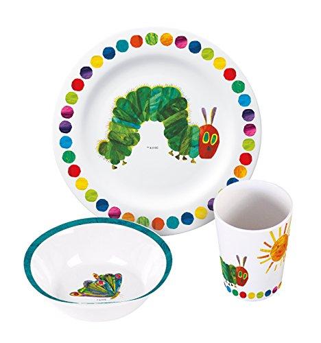 Raupe Nimmersatt Melamin Frühstücksset 3-Tlg 17 3-Teiliges Geschirrset, Mehrfarbig, 23 x 8,5 x 21 cm
