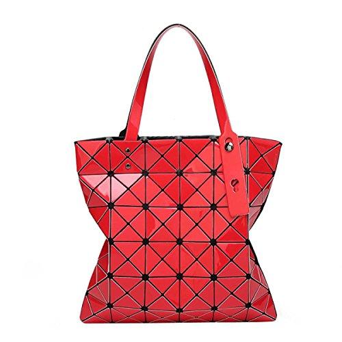 Borse Opaco Pieghevoli Geometrica Griglia Ling Moda Casuale Delle Donne Red