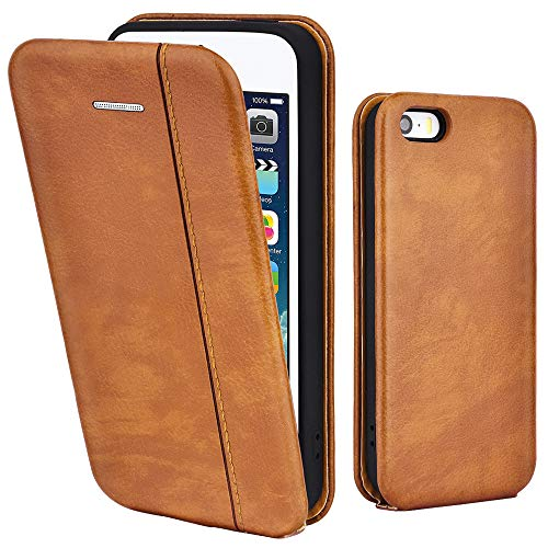 LEAUM Leder Hülle für Apple iPhone SE, iPhone 5S und iPhone 5 Handyhülle Tasche Flip Sc