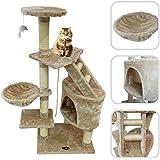Lolipet - Arbre à chat avec griffoir beige - Tour à griffer en sisal naturel